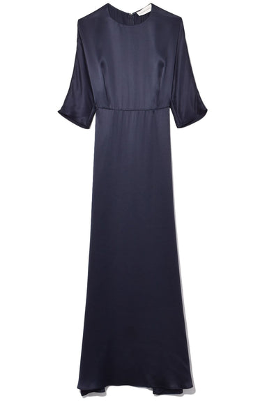 Silk Charmeuse Fine Dress in Blu