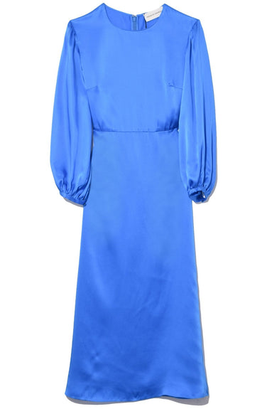 Silk Charmeuse Voluminous Sleeve Dress in Royal