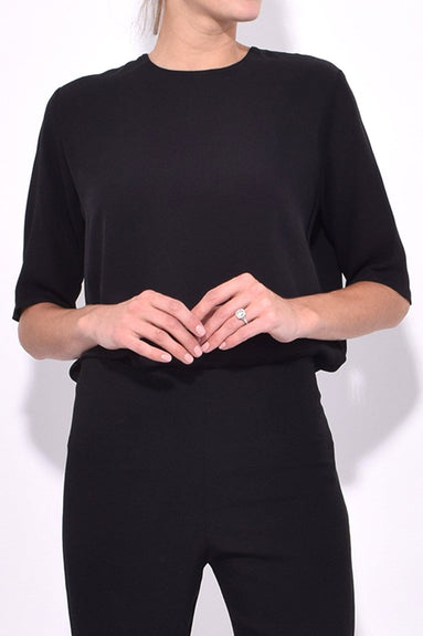 Silk Short Sleeve Blouse in Black