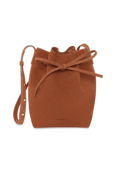 Suede Mini Bucket Bag in Rust