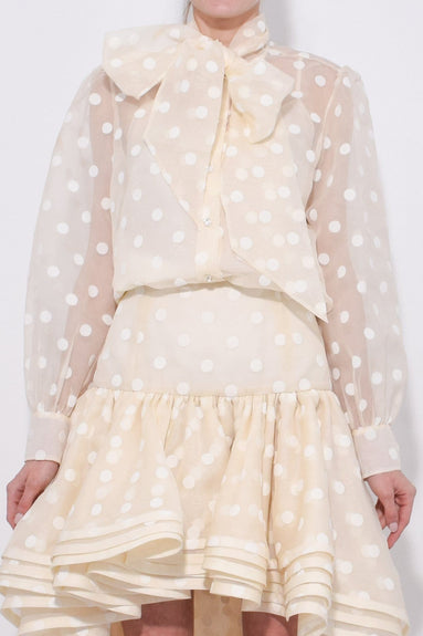Button Blouse with Long Bow Tie in Ivory