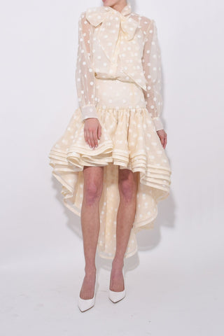 Layered Hi-Low Skirt in Ivory