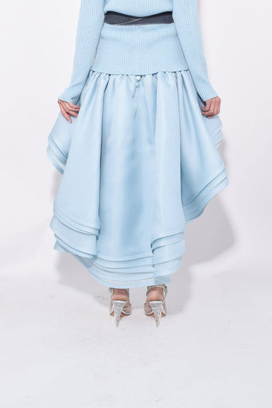 Layered Hi-Low Skirt in Pale Blue