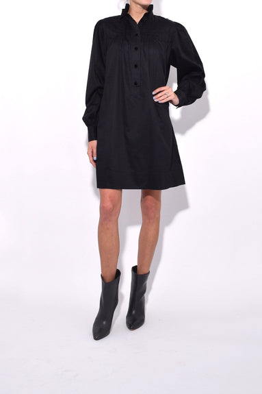 Long Sleeve Dress with Ruffle Collar in Black
