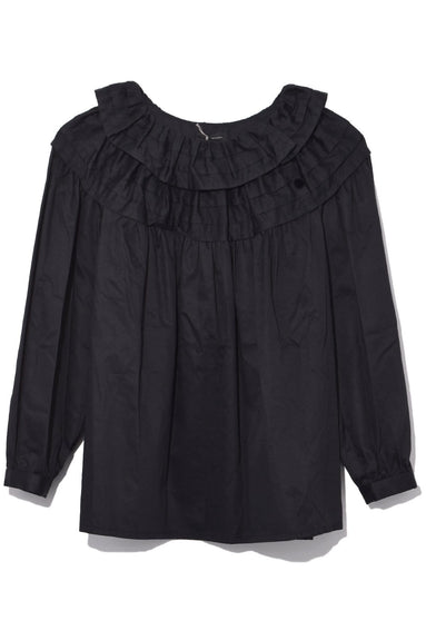 Long Sleeve Top with Ruffle Collar in Black