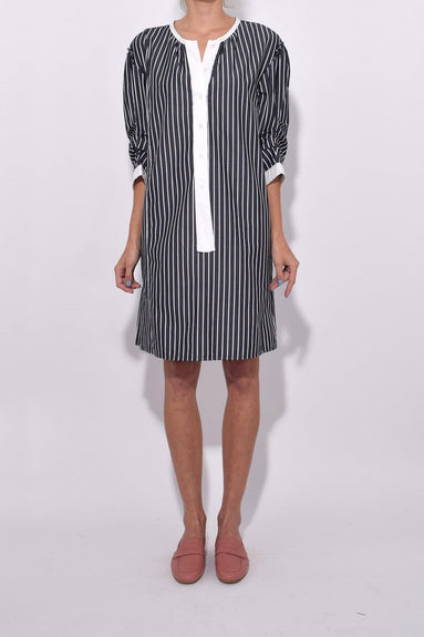 Mini Dress with Front Placket in Black/White