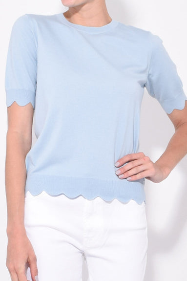 Short Sleeve Crew Neck Scallop Sweater in Pale Blue