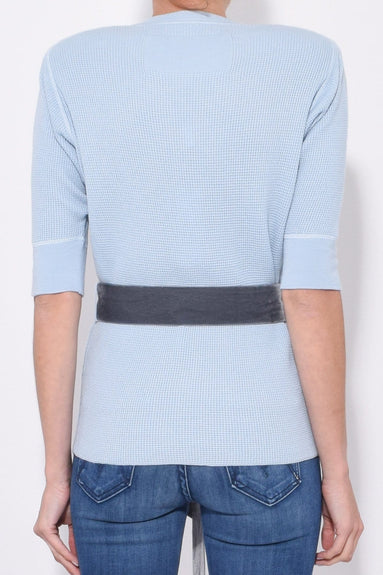 Short Sleeve Crew Neck Sweater in Pale Blue