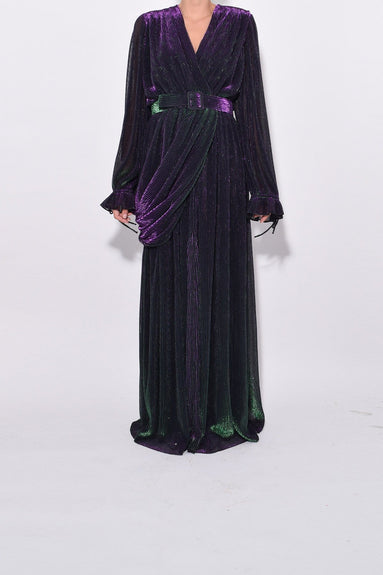Long Draped Belted Dress in Green Purple