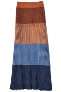 Midi Stripe Skirt in Rust Blue