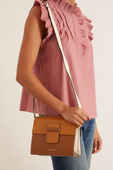 Adjustable Crossbody Shopping Bag in Yellow and Beige