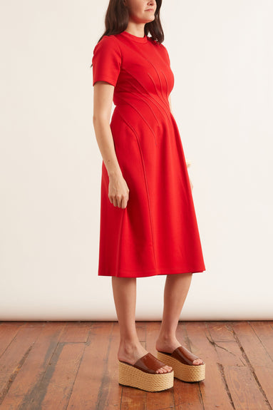 Double Faced Short Sleeve Jersey Dress in Hot Red