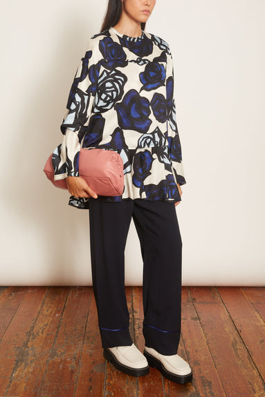 Flounced Bottom Blouse in Roma Print