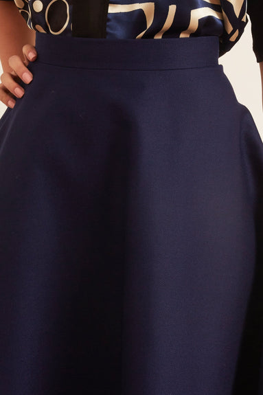 Knee Length Skirt in Light Navy