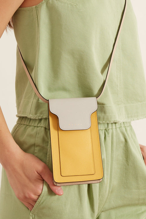 Trunk Phone Case Crossbody Bag in Pelican/Maiz