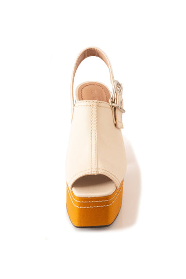 Canvas Platform Sandal in Natural