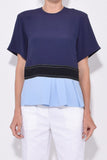 Contrasting Peplum Blouse in Light Navy/Sky/Black
