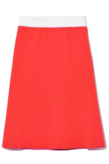 Knit A-Line Skirt in Red