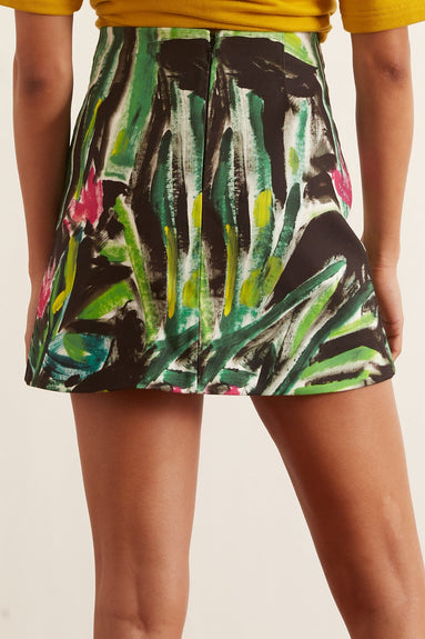 Printed Mini Skirt in Fern Green