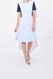 Short Sleeve Colorblock Dress in Arctic/Light Navy