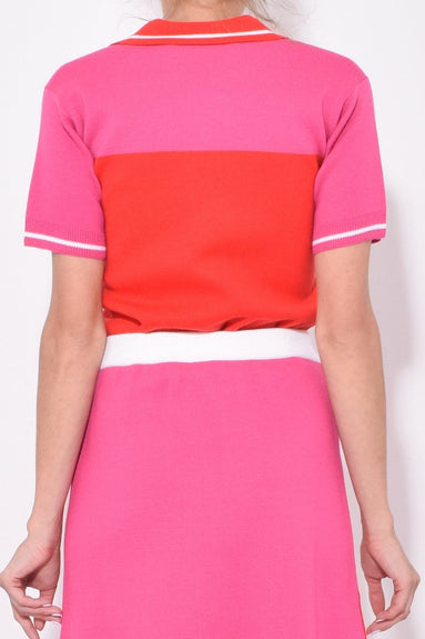 Short Sleeve Polo Neck Top in Red