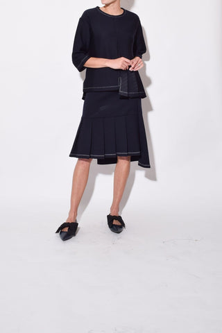 Wool Skirt in Blublack