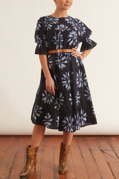 Paradis Shibori Dress in Navy