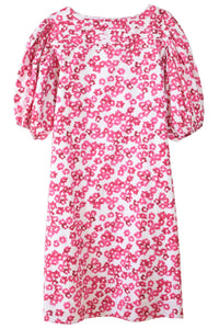 Aster Dress in White/Fuchsia Print