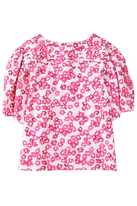 Canova Top in White/Fuchsia Print