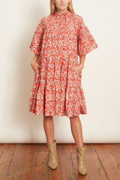 Astell Dress in Red/Sand Print