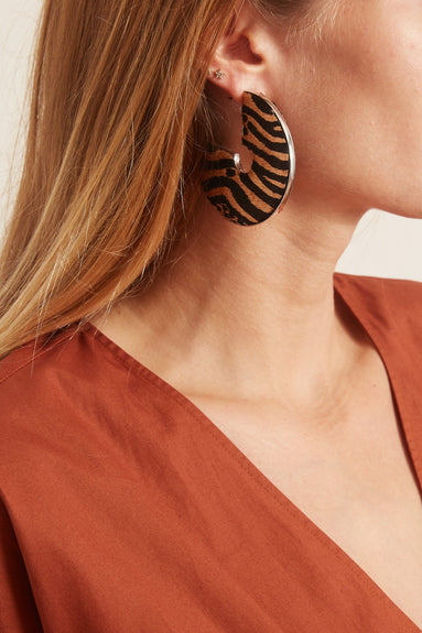 Zebra Mega Fiona Earring in Nude/Black