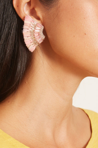 Feather Mini Madeline Earring in Pink