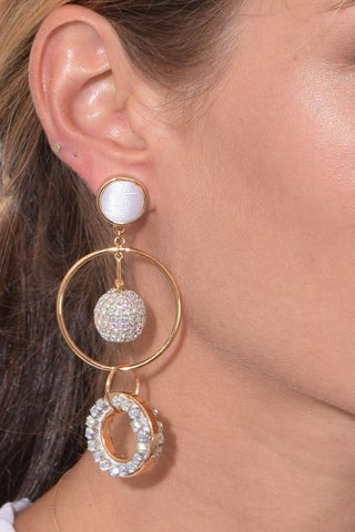 Crystal Mika Mismatched Earring in White/Gold