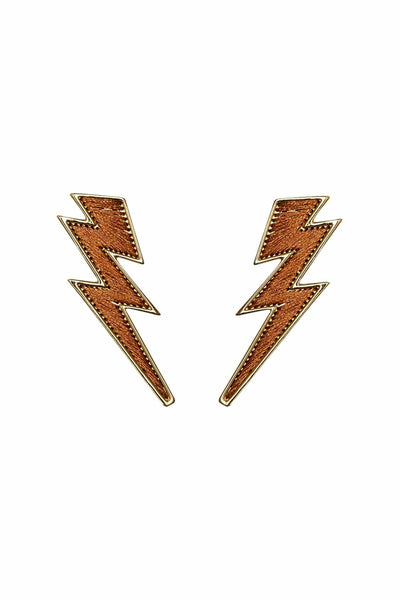 Lightening Bolt Earrings in Burnt Orange
