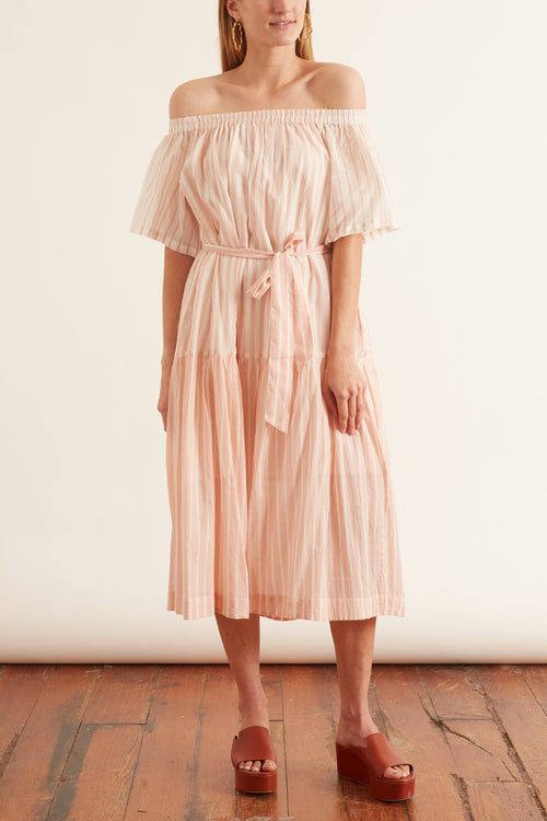 Handwoven Stripe Short Dress in Pink