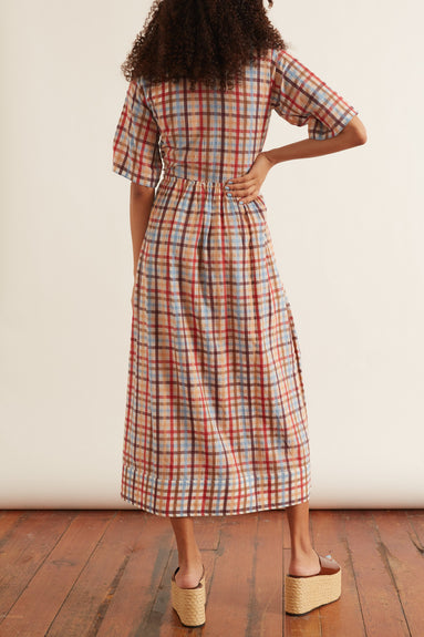 Les Madras Shirt Dress in Terra
