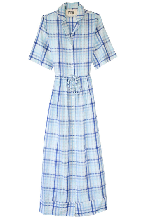 Les Madras Shirt Dress in Blue