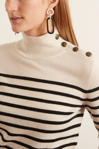 Beale Sweater in Ivory with Black Stripe