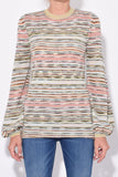 Balloon Sleeve Top in Multi Stripe