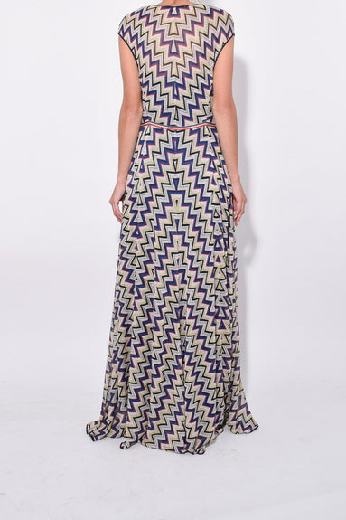 Gown in Blue Zig Zag