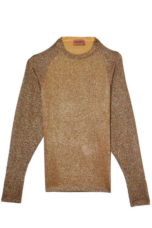 Long Sleeve Crewneck Top in Gold