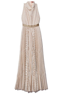 Sleeveless Long Dress in Gold/Ivory Stripe