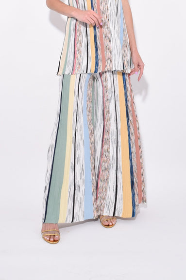 Wide Leg Flared Pants in White Multi