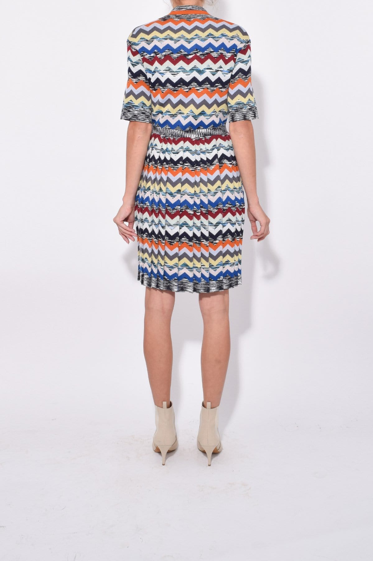 Sweater Zig Zag Print Short Sleeves Elbow Length Sleeves Dress