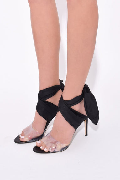 Scarf Ankle Wrap Shoes in Black