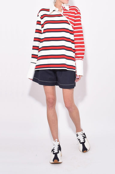 Stripe Twisted Rugby Top in Red/Ivory/Navy
