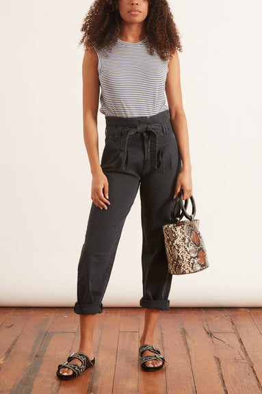 The Greaser Paperbag Pleat Jean in Faded Black