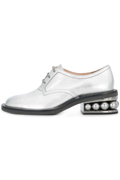 Casati Pearl Derby Shoes in Grey Silver