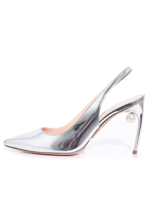 Mia Sling Pump in Silver