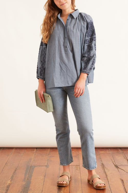 Abby Romanian Embroidered Top in Chambray/Navy